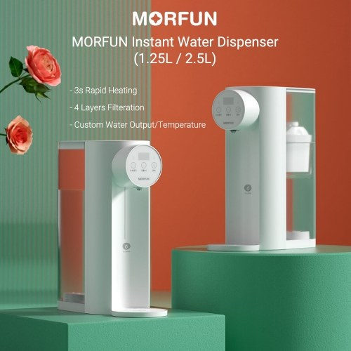 MORFUN Desktop Water Dispenser Smart Instant Heating Drinking Fountain 1.25L/2.5L 3s Rapid Heating/Customized Water Temperature/Volume/4 Layers Filteration/2200W Hot Water Purifier Electric Water Pump MF212