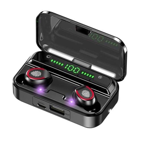 F9-3 True Wireless Earbuds BT 5.1 Auriculares TWS Auriculares estéreo con control táctil 1200mAh Power Bank Estuche Pantalla LED de energía digital Sonido estéreo de alta fidelidad Tecnología de cancelación de ruido binaural Esterilización UV Tiempo de reproducción prolongado para juegos Música deportiva