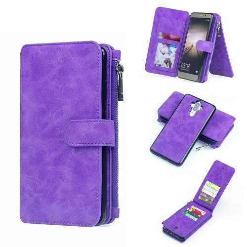 Для HUAWEI P9 Plus P9 Lite P9 Mate 9 Pro Mate 9 Многофункциональный магнитный бумажник с магнитной лентой Защитная футляр для телефонной карточки Съемная флип-кожаная обложка Стильная защита от царапин фото