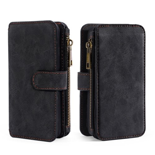 For iPhone 6 6S 6P 6SP 7 8 7P 8P X Multifunction Zipper Wallet Magnet Protective Phone Card Case Detachable Flip PU Leather Cover Stylish Anti-scratch