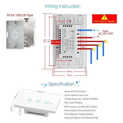 Interruttore a muro Smart-Touch Smart Switch Interruttore a parete standard Touch-Screen americano Pannello di cristallo Interruttori a LED