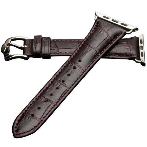 QIALINO Pull-up Genuine couro de vaca substituição pulseira de faixa de relógio para Apple iWatch Series 3/2/1 42mm Sport / Edition pulseira feminina de mulher com fecho de aço inoxidável