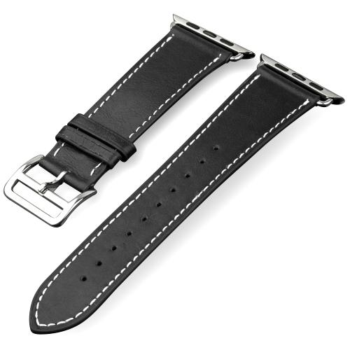 QIALINO Pull-up Pasek ze skóry zastępczej Pasek do zegarka dla Apple iWatch Series 3/2/1 42mm Sport / Edycja Bransoleta dla mężczyzn z pętlą ze stali nierdzewnej