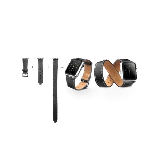 QIALINO Bracelet en cuir véritable pour Apple iWatch Series 3/2/1 42mm Sport / Edition Bracelet pour femme en acier inoxydable avec fermoir en acier inoxydable