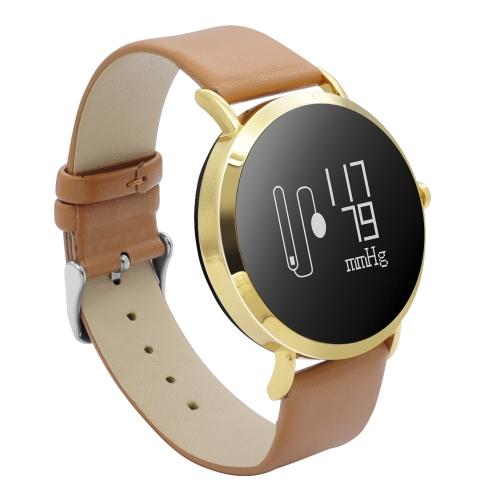 CV08 Pressão sanguínea pressão cardíaca Smart Watch - banda de couro PU
