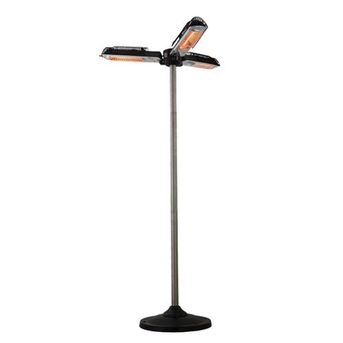Parasol chauffant électrique d'extérieur trois lampes type halogène sur pied - 2000w
