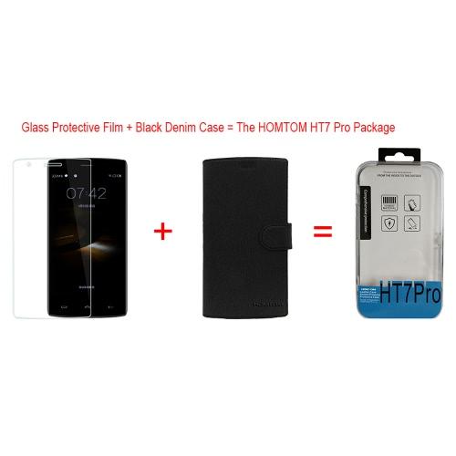 2 en 1 Oringnal HOMTOM HT7 PRO protection PU + verre trempé Film écran protecteur pour HOMTOM HT7 / HT7 PRO