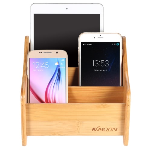 KKmoon Bamboo Stand All in 1 Smartphone Tablet Charging Display Dock Station Cradle Bracket for HUAWEI Mate 7 8 P8 Honor 7 Samsung S6 S6 edge S7 S7 edge iPhone 6 6 Plus 6S 6S Plus iPad mini air
