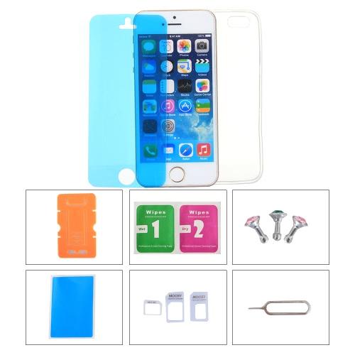 携帯電話アクセサリーの保護バックケーススクリーンフィルムプロテクター電話スタンドカードスロットピンイヤホンダストは、iPhone 5C用のプラグイン