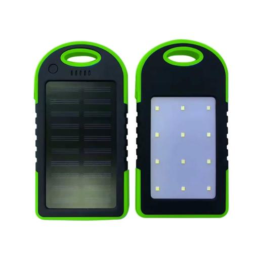 4000mAh Carregador de painel de energia solar LED Light Portas USB duplas Grande capacidade recarregável à prova de água à prova de choque sem deslizamento Power Bank Carregador portátil para smartphone Camping