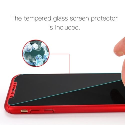 360 Degree Hard PC Protective Shell Full Body Cover Mobile Phone Case with Tempered Glass Screen Protector