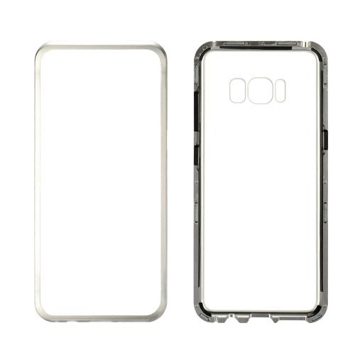 Custodia per cellulare in metallo con protezione in vetro temperato Protezione per adsorbimento magnetica Custodia per smartphone in paraurti Custodia in alluminio per Samsung S8 / S8 +