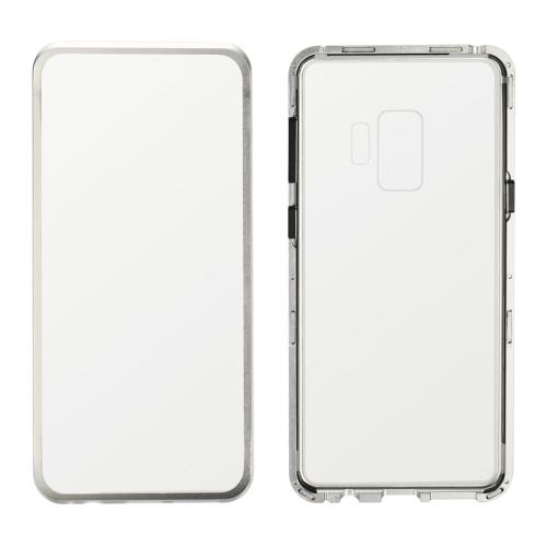 Cubierta del teléfono móvil con montura de metal Cubierta de vidrio de protección de adsorción magnética de vidrio templado Fundas de aluminio lujosas para Samsung S9 / S9 +