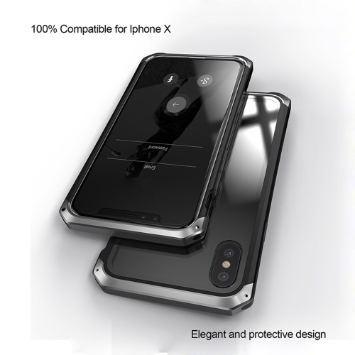 Fashionable Practical Phone Cover Metal Protective Frame Breakingproof Mobile Phone Shell with Transparent Clear Toughened Glass for iPhone7/8 Plus