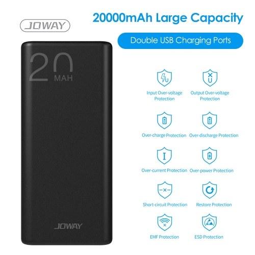 JOWAY Power-Bank mit zwei USB-Ladeanschlüssen 10000 mAh / 20000 mAh Tragbares Ladegerät für Mobiltelefone mit hoher Kapazität Externes Akkupack