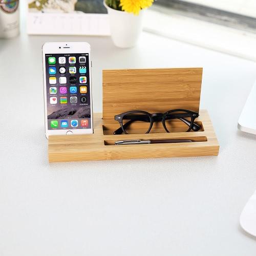 Scrivania multifunzionale per il telefono cellulare in bambù per il caricabatterie per iPhone 7 Plus Samsung S8 +