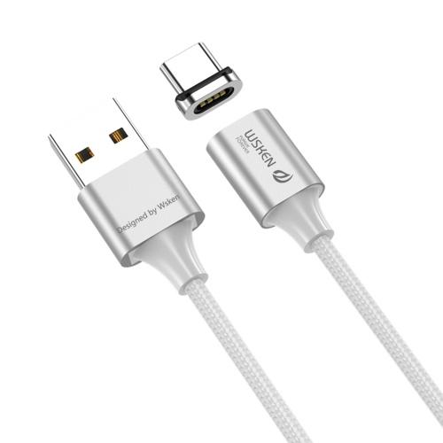 WSKEN X2 2M 6,56ft de câble de type magnétique C magnétique Affichage à LED de type magnétique Données Sync Câble de charge rapide Câble de charge de fil tressé en nylon / Argent