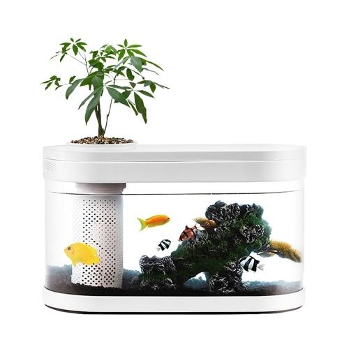 Youpin Desgeo Ecological Goldfish Tank Sala de estar Home Desktop Pequeño Sistema de simbiosis Flower Muzy Lazy Aquarium LED Caja de peces de colores con filtro de oxígeno Conjunto de bomba