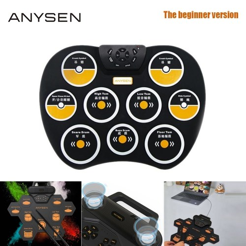 ANYSEN Professional Electronic Drum Hand Roll Portable Musical Instruments Kits Dual Stereo Music Game Pad With Drumsticks Foot Pedals Great Holiday Birthday Gift for Kids Friends Drum Set Orange