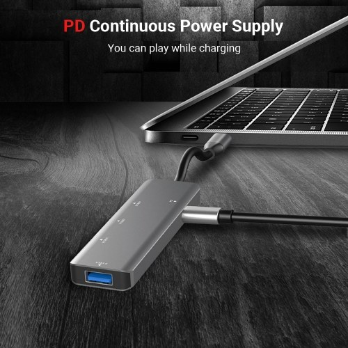 T508 5 in 1 Hub Type C To USB3.0*4+PD Intelligent USB Hub Multi-Port Adapter for Laptop Computer Mobile Phones Gray