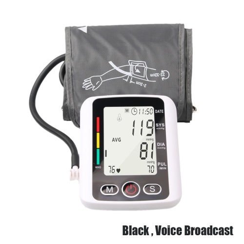 Blood Pressure Monitor Portable Sphygmomanometer Heart Rate Alarm with Automatic Digital LCD Display Intelligent Pressurization Voice Broadcast Smart Blood Pressure Device
