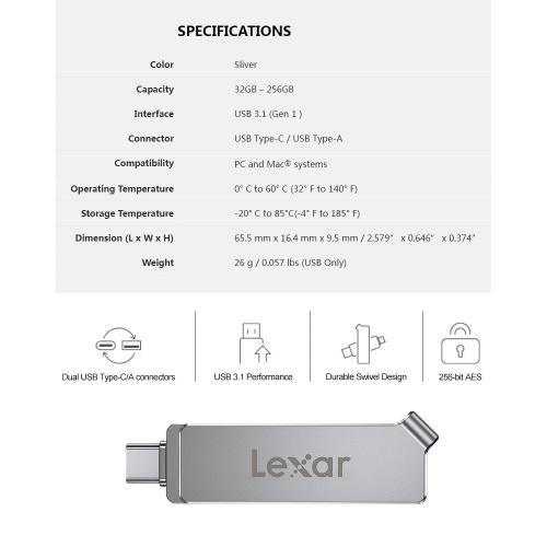 Lexar JumpDrive Dual Drive D30c USB 3.1 Type-C Flash Drive 256GB 128GB 64GB 32GB130MB/s Memory Stick Type A+Type C Flash Drive For Phone/Computer Storage and Backup