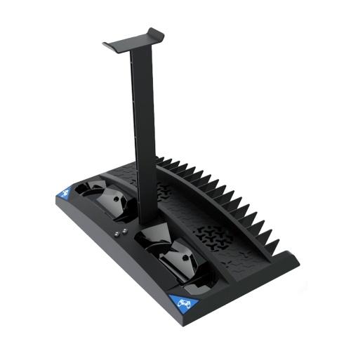 iPega PG-P4009 6 in 1 Multifunktionaler vertikaler Ständer mit Dual-Controller-Ladegerät Dual-Lüfter Spielkarten Speicher Headset-Ständer Zwei Kontaktadapter LED-Anzeige Ersatz für PS4 / PS4 Slim / PS4 Pro Schwarz