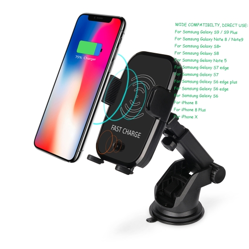 Image of 10W Fast Charge Vehicle-Mount Automatic Infrared Sensor Suction Qi Wireless Charging (Black)