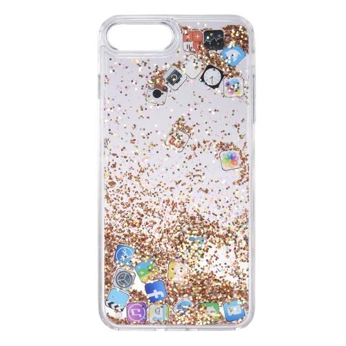Quicksand, capa de telefone de padrão de aplicação para iPhone 7 Plus iPhone 8 Plus Bling Caixa de telefone protetora bonito Anti-dust Anti-scratch
