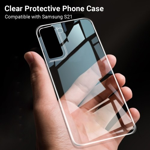 6.7-inch Clear Soft TPU Phone Case with Full Body Protection Slim Shockproof Cover Anti-Scratch Protective Case Replacement for Samsung Galaxy S21