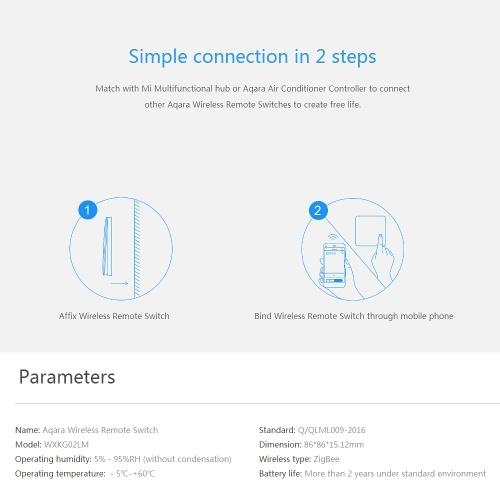 Оригинал Xiaomi Aqara Smart Беспроводной Настенный Выключатель Света Дистанционного Управления ZiGBee Wi-Fi Беспроводной Ключ Настенные Выключатели Работают с Mijia Mi Home APP фото