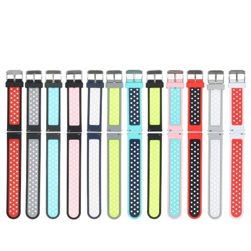 Cinturino per orologio da 20 mm Cinturino a sgancio rapido in silicone morbido con fibbia Cinturino per cinturino traspirante Compatibile con orologio smart / tradizionale da 20 mm