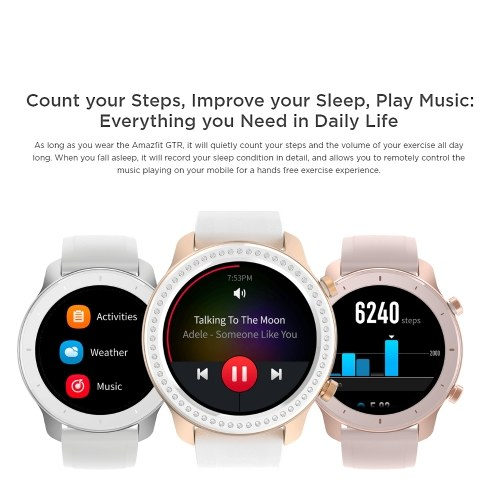 Global Version Xiaomi Amazfit GTR Smart Watch with GPS 5ATM Waterproof 24 Days Battery Life 12 Sports Mode BT AMOLED Touch Screen For iOS Android