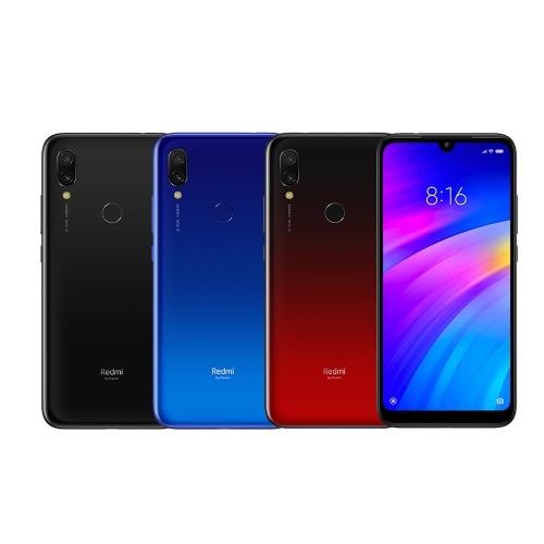Xiaomi Redmi 7 Mobile Phone 3GB RAM 32GB ROM Snapdragon 632 Octa Core 12MP 6.26inch HD+ 4000mAh Battery Dual SIM Triple Card Slot Face ID Unlocked Smartphone PZ0466BL-US-32