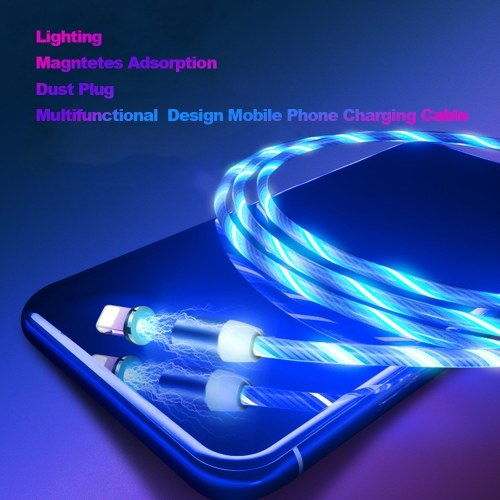 1M LEDs Data Cable Lighting Multifunctional Dust Plug Design Mobile Phone Charging Cable