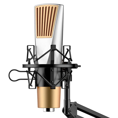 Microfone Condensador Cardioide Studio Broadcasting Gravação Microfone Podcasts Mic alta sensível com suporte de montagem à prova de choque