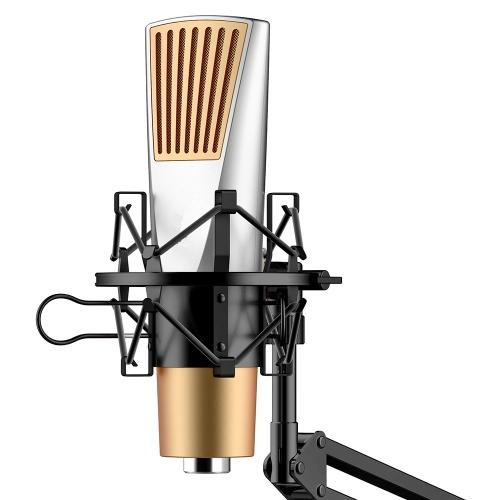 Kardioida Kondensator Mikrofon Studio Nagrywanie Podcasty Mikrofonowe Mikrofony Mikrofonowe z odpornym na wstrząsy uchwytem Mount Holder