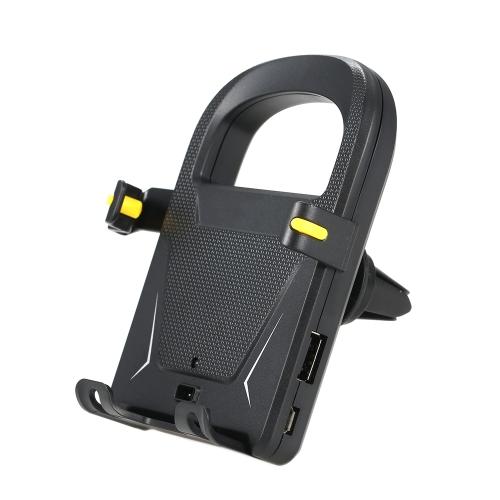 Автоматический интеллектуальный держатель мобильного телефона Держатель для приборов с воздушным вентилятором Подставка для держателя автомобиля с USB-зарядным портом для 3,5-дюймовых смартфонов