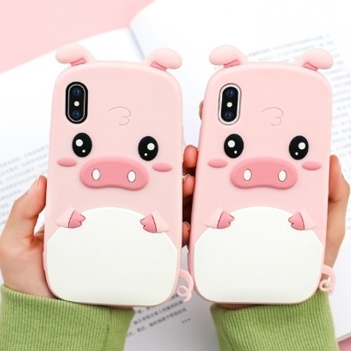 3D Cartoon Cute Pig Phone Soft Silicone Shockproof Protection Case Shell For IP 6 For IP 7 For IP 8 For IP 6 plus For IP 7 plus For IP 8 plus For IP X