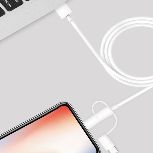 3.3ft Xiaomi 5V 2.4A Micro USB Typ-C Blitz 3 in1 Ladekabel Sync Datenkabel für iPhone Samsung Xiaomi Huawei Smartphone Tablet
