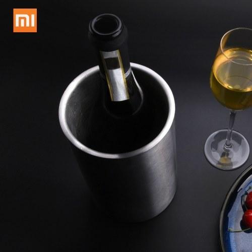 Xiaomi Circle Joy Cubo de hielo de acero inoxidable Doble capa Aislamiento eficiente Mini cubo de bebida de hielo para whisky Champagne Enfriamiento de jugo de vino