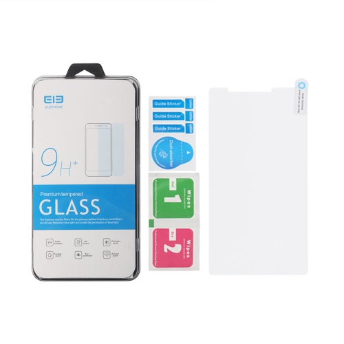 Ultra-fino e surpreendente 9H protetor de tela de vidro temperado filme protetor resistente a riscos anti-explosão para Elephone C1 Max Smartphone