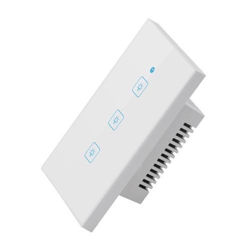 Wi-fi Interruptor de Toque Interruptor de Parede Inteligente EUA Interruptor de Tela de Toque Padrão Painel de Vidro Cristal Interruptores Da Lâmpada LED