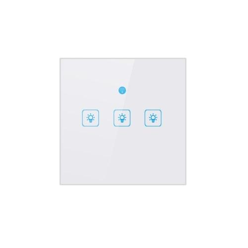 WiFi Smart Touch-Switch Wandschalter Licht UK Standard-Touchscreen-Schalter Kristallglasscheibe LED-Lampenschalter