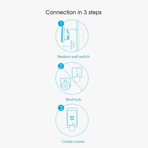 Xiaomi Aqara QBKG11LM Smart Wall Switch Smart Wi-Fi Control Lighting from Anywhere Home Smart Wall Touch APP Home Device Remote Control Voice Control Household No Hub Required(single fire single button) ZigBee Version