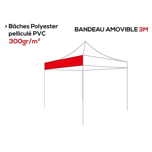 Bandeau amovible personnalisé polyester 300g/m² - Tente pliante - Plusieurs longueurs