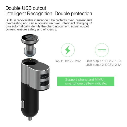 OVEVO Q10 2-in-1 montato su veicolo Bluetooth Headset + Car Charger Dual USB cuffia auricolare IC Chip per iPhone 6S 6S Plus iOS Android Smartphone con Bluetooth 4.0 sotto risposta telefono accoppiato con due Smartphone