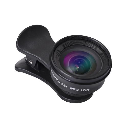 HD 0.6X Wide Angle Lens Alta Definição 120 ° Não Distortion External Clip-on Cell Phone Lente de Câmera para a maioria dos Smartphones