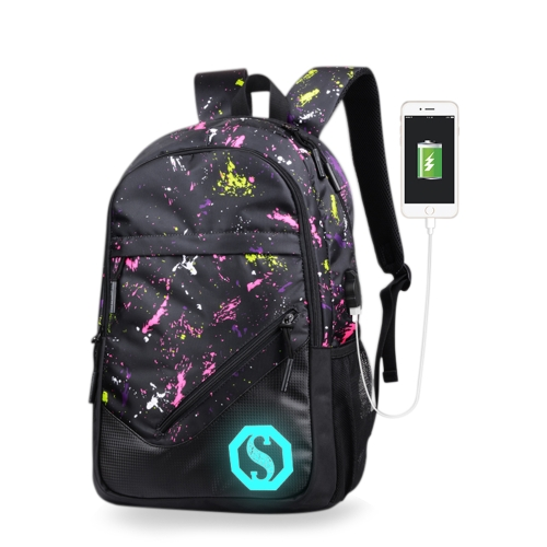 Fashion Teenagers Men Mulher Mochila Bolsa Pen Haversack Luminous Student Cartoon School Bolsas