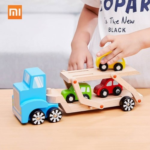 Xiaomi BEVA 6pcs Natural Wooden Building Blocks Toys Truck Car For Children Baby Education Bricks Toys Magic Train Disassembly Assembly Car Toy
